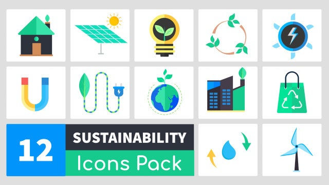 Truly Animated Sustainability Icons Pack: Motion Graphics Templates