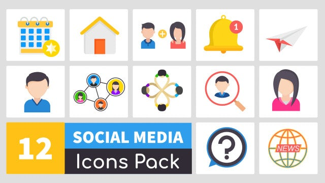 Animate Social Media Icons Pack: After Effects Templates
