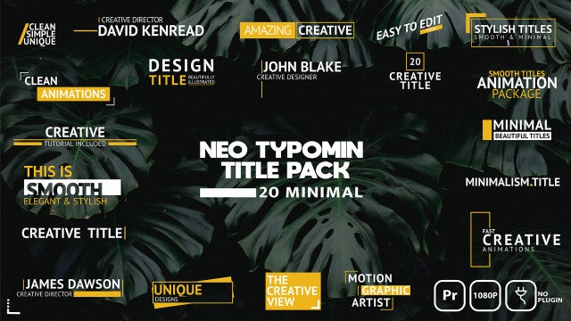 Neo Typomin Title Pack: Motion Graphics Templates