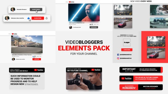 Youtube Channel Blogers Pack: After Effects Templates