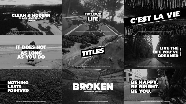Black And White Typography V.2: Premiere Pro Templates