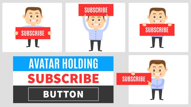 Avatar Holding Subscribe Button: After Effects Templates