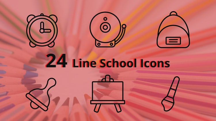 Line School Icons: After Effects Templates