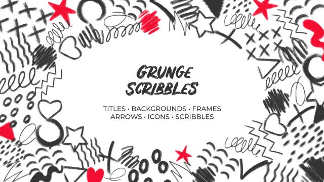 Grunge Scribbles. Hand Drawn Pack: DaVinci Resolve Templates
