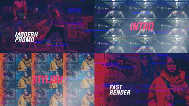 Stylish Glitch Slideshow: After Effects Templates