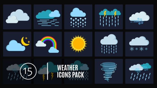 15 Weather Icons Pack: After Effects Templates
