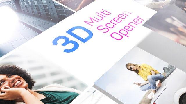 3D Multi Screen Opener: Premiere Pro Templates