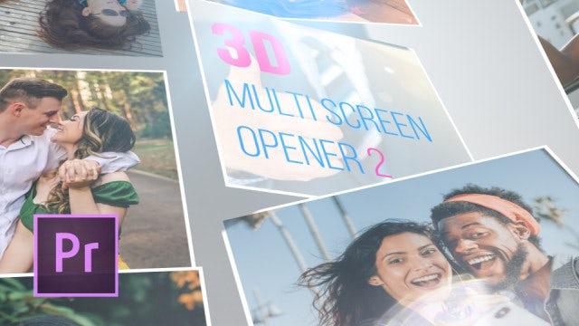 3D Multi Screen Opener 2: Premiere Pro Templates