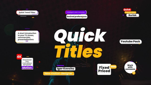 Quick Trendy Titles: Motion Graphics Templates