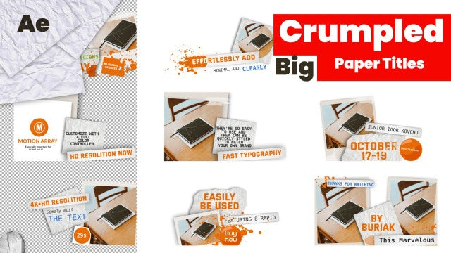 Big Crumpled Paper Titles: After Effects Templates