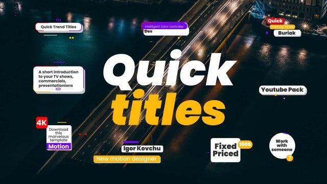 Quick Trendy Titles 4k: Premiere Pro Templates