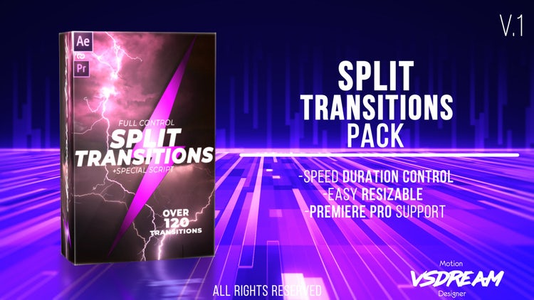 120+ Split Transitions Pack: After Effects Templates