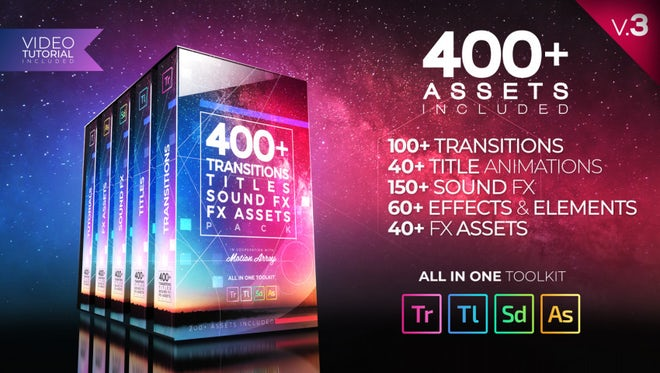 400+ Pack: Transitions, Titles, Sound FX: Premiere Pro Templates