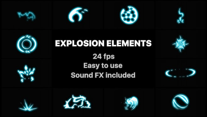 Energy Explosion Elements: Stock Motion Graphics