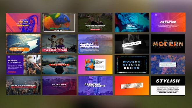 20 Modern Typography: After Effects Templates