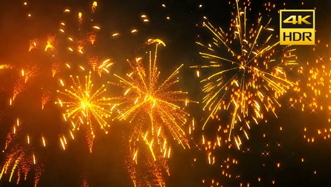 Golden Fireworks Background: Stock Motion Graphics