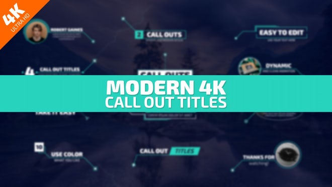 Modern 4K Call Out Titles: After Effects Templates