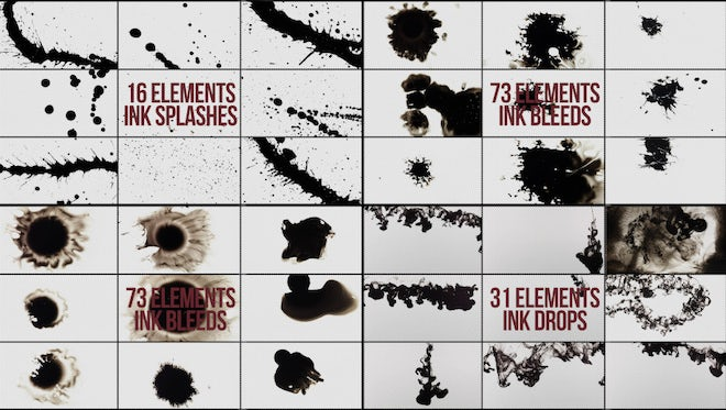 Package Of Fantastic Ink Elements: Stock Video