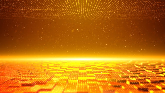 Golden Cube Particles Background: Stock Motion Graphics