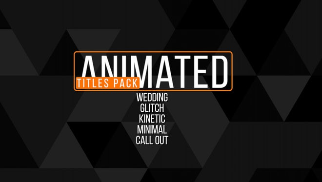Animated Titles Pack: Premiere Pro Templates