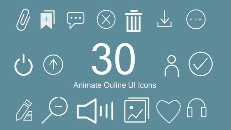 30 Outline Animated  UI Icons: After Effects Presets
