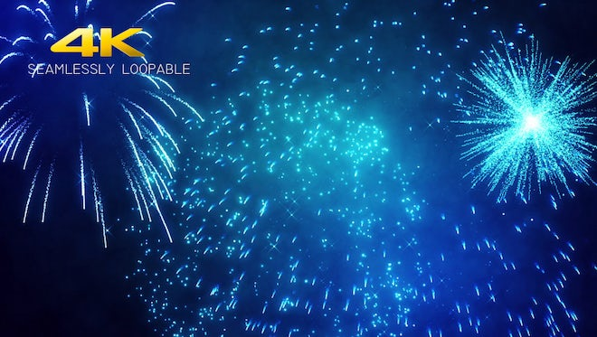 Blue Fireworks: Stock Motion Graphics