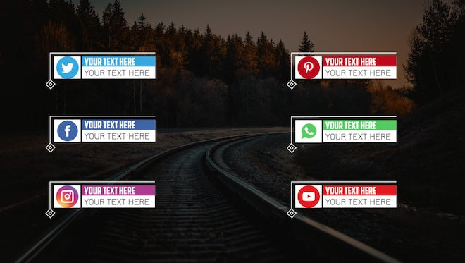 Clean Social Media Lower Third Pack : Motion Graphics Templates