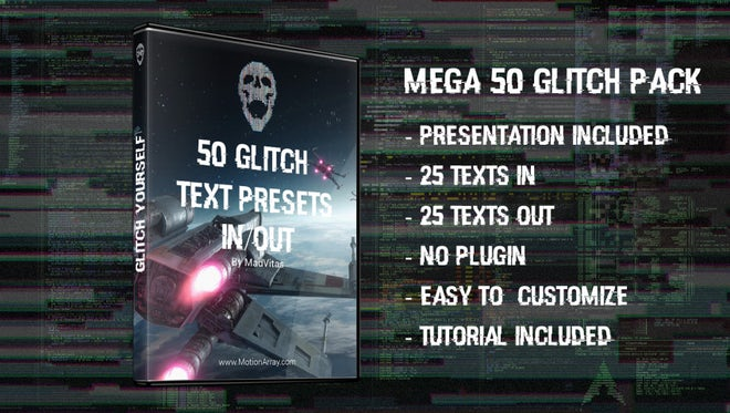 50 Digital Glitch Text Presets: After Effects Presets