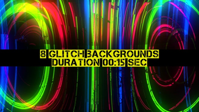 8 Glitch Backgrounds Pack: Stock Motion Graphics