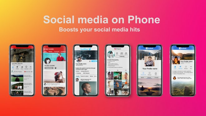 Social Media On Phone: After Effects Templates