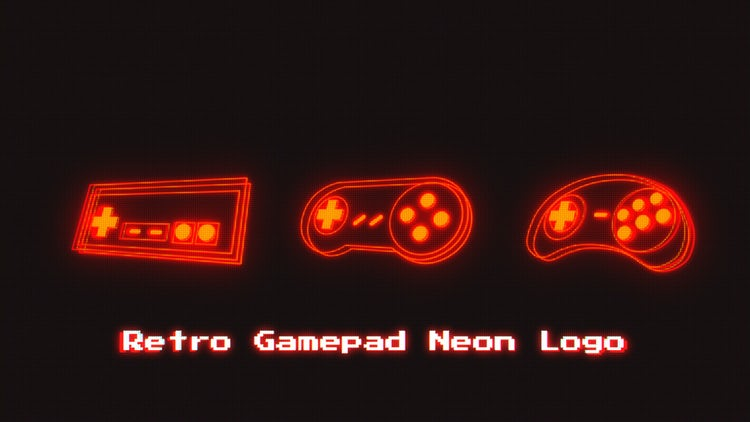Retro Gamepad Neon Logo: After Effects Templates