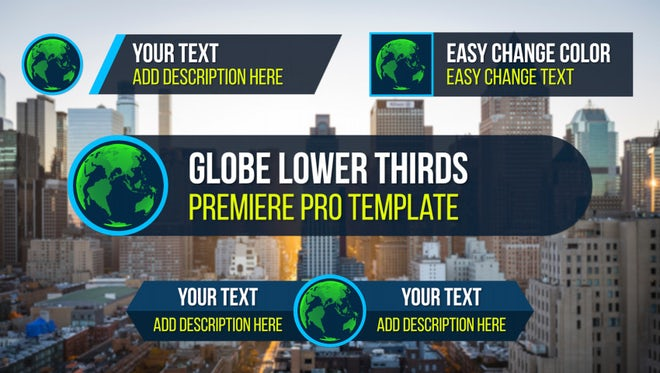 Globe Lower Thirds: Premiere Pro Templates