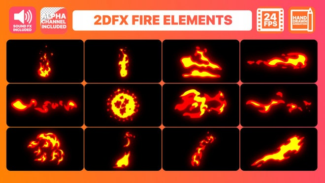 Hand Drawn Fire Elements Pack: After Effects Templates
