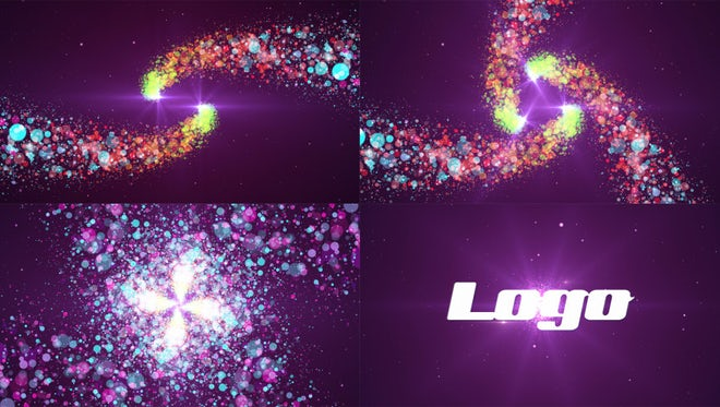 4 in 1 Colorful Particles Spiral Logo: After Effects Templates