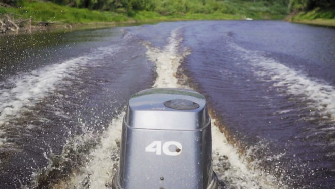 Motor Boat Sailing On River: Stock Video