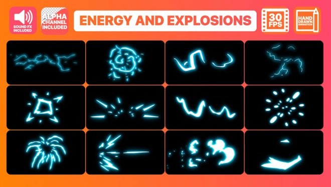 Energy And Explosion Elements Pack: Stock Motion Graphics