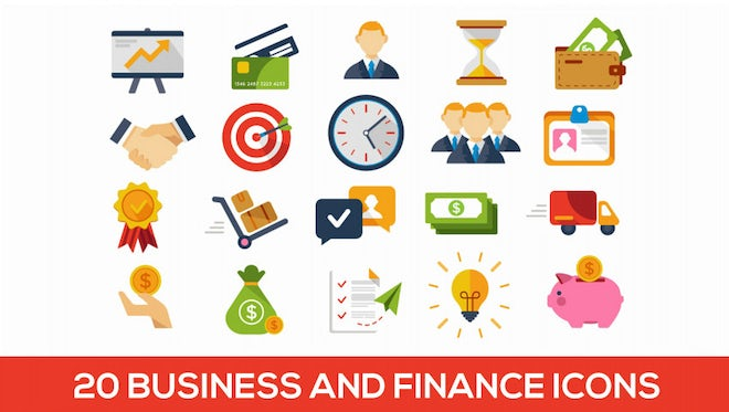 20 Animated Business and Finance Icons: Stock Motion Graphics