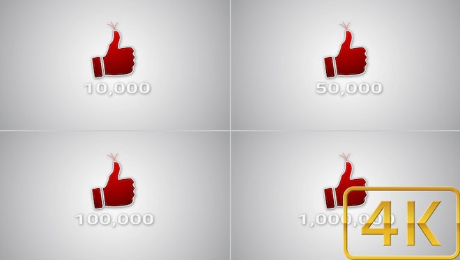 Likes Counter 10K - 1M Pack: Stock Motion Graphics