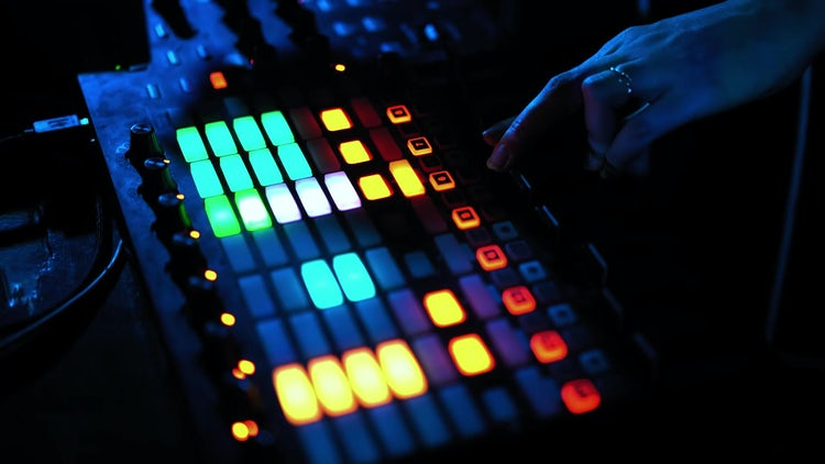 Girl DJ Clicking Mixing Console: Stock Video
