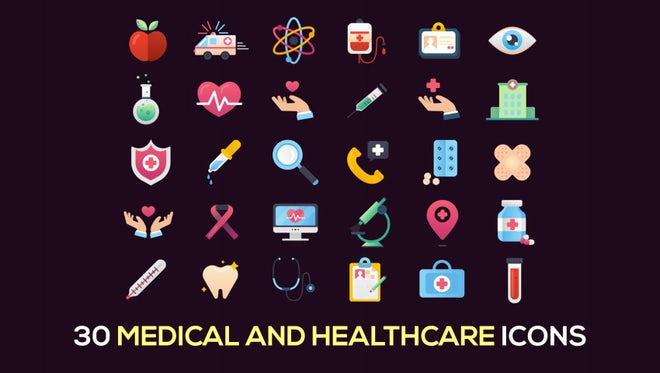 30 Medical And Healthcare Icons: Stock Motion Graphics