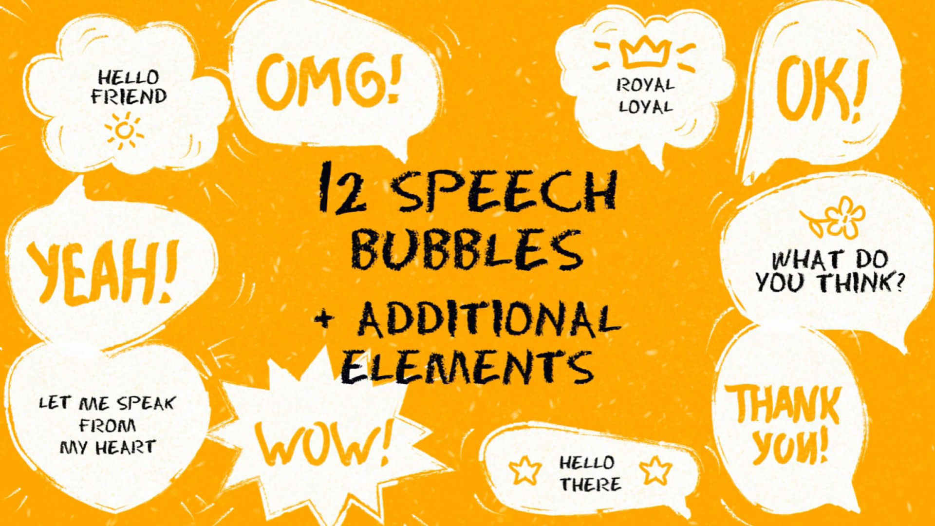 Funny Speech Bubbles And Elements Pack 196149 + Music