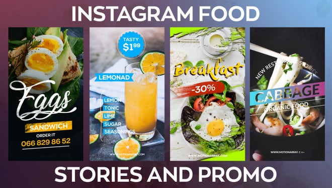 Instagram Food Stories And Promo: After Effects Templates