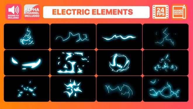 Electric Current Elements Pack + Titles Pack: Motion Graphics Templates