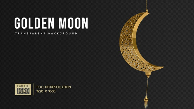 Golden Arabesque Moon Decor: Stock Motion Graphics