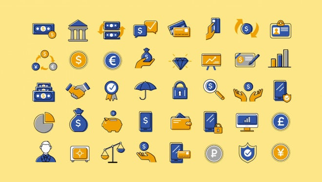 40 Animated Finance And Banking Icons: Motion Graphics Templates