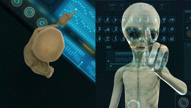Alien Presses Hologram Screen Keys: Stock Motion Graphics